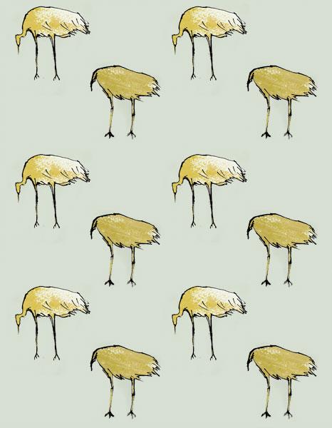 鳥 パターン テキスタイル
