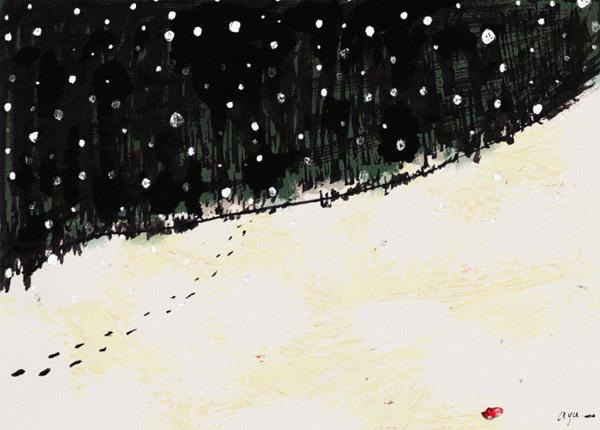 雪の中、深い森へ