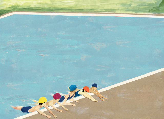 夏 プールサイドで
