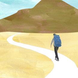 旅 イラストレーション 山 登山