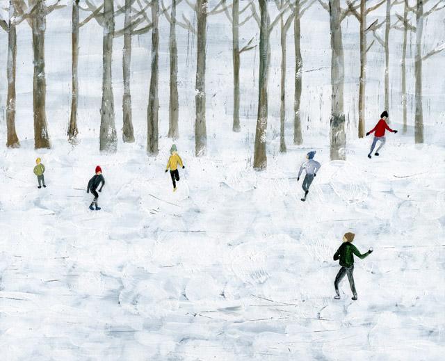 雪合戦 少年 子ども 森 冬 イラスト イラストレーション いわしまあゆ