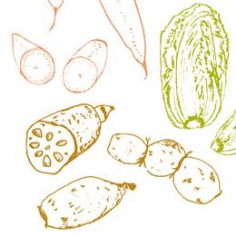 ラシックマガジン 名古屋 野菜 線画 イラスト